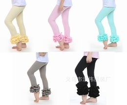 Wholesale Girls Childrens Leggings - Toddler baby ruffles pants girls cotton lace leggings childrens spring fall tights kids pink black leggings pants new boutique candy trouser