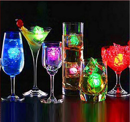 Wholesale Cube Water - Christmas Decoration Flash Ice Cube WaterActived Flash Led Light Put Into Water Drink Flash Automatically for Party Wedding Bars