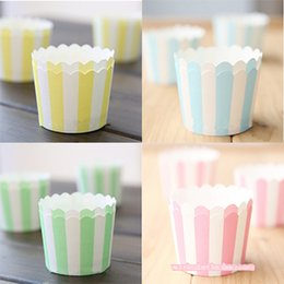 Wholesale Wholesale Mini Cupcake Liners - Cupcake Papers Mini Muffin Cup Cake Wrapper Cupcake Liners Colorful Bands High Temperature Greaseproof Baking Paper Cups