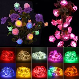 Wholesale Green Colored Roses - Wholesale- Multi-colored Rose String Light LED Festival Fairy Lights For Christmas Xmas Party Wedding Decoration