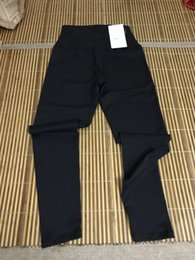 Wholesale Yoga Pants Xs - 2017 fashion Sexy High Rise Women Yoga Outfits Thicken LU Material Elastic Leggings Pants Spandex Thicken Material Clothing Running