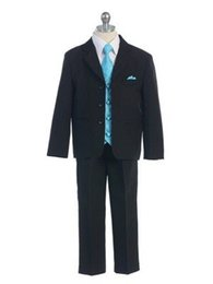 Wholesale Boys Royal Blue Vest - 2016 Kid Boy Tuxedos Suits Clothing Handsome Wedding Party Boys' Formal Occasion Suit Formal Attire (Jacket+Pants+Vest+Tie)