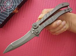 """Wholesale Gray Fan - MT Gray 440C steel Balisong Butterfly Knife (3.875"""" Blasted) BM42 BK32 fan survival gear knife knives w  retail box"""