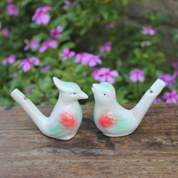 Wholesale Musical Folk Instruments - Wholesale Glazed Ceramic Bird whistle Cardinal Vintage Style Water Warbler musical instruments & Toy 600 pcs lot drop shipping