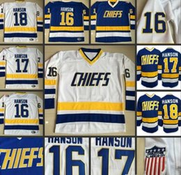 Wholesale Quality 16 Movies - Wholesale - Hanson Brothers Charlestown Hockey Jerseys 16 Jack 17 Steve 18 Jeff SlapShot Movie Jerseys Stitched Top Quality Jersey