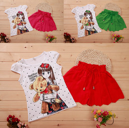 Wholesale Pretty Shirts - Wholesale-Summer girls clothing pretty girl cotton t-shirt+pant skirt 2 pieces children short sleeve clothes suit 3 colors 4s l