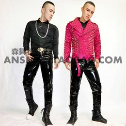 Wholesale Male Leather Costume - Wholesale- Size S-5XL male singer right Zhi-Long GD good boy with money stage costumes imported pure black stretch patent leather trousers