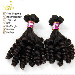 Wholesale Indian Human Hair Raw - 3pcs Lot Unprocessed Raw Virgin Indian Aunty Funmi Human Hair Weave Nigerian Style Bouncy Spring Romance Curls Thick Soft Hair Extensions