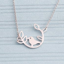 Wholesale Lucky Leaf Branch Bird - Min 1pc,Gold silver bird on the round leaf branch necklace,lucky bird on branch necklace XL127