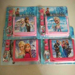Wholesale Lovely Kids Purses - Frozen Anna Elsa Sets Watch and Wallet Purse Kids Fashion Quartz Cartoon Candy Cute Lovely Boy Girl Woman Lady Children Christmas gift