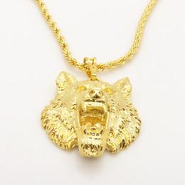 Colgantes de oro macizo 24k cadenas online-Vivid Wolf Design Solid 24K colgante de oro amarillo para hombre colgante collar con cadena de cuerda