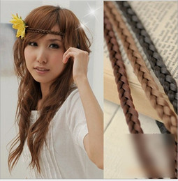 Wholesale Hair Band Braided Color - 11 Color 1.2cm Bohemia New Synthetic Fashion Headband Hair Band For Woman Elastic Plaited Headbands Braided Hair Accessories K5638