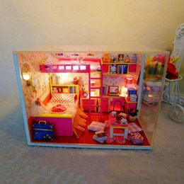 Wholesale Miniature House Lighting - Wholesale-M002 NEW hongda diy dollhouse miniature Girl's bedroom wooden doll house include furniture,Light,dust cover