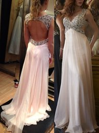 Wholesale Light Purple Chiffon Material - Elegant Maternity Prom Dresses V Neck Crystal Beads Sequines Open Back Chiffon Long Formal Evening Dress Gown 2016 High Quality Material