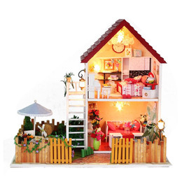 Wholesale Building Model Making - Wholesale-Christmas Birthday New Year Gift Model Building Hand Made DIY Wooden Music Box Doll House Casa de boneca Mini Dollhouse