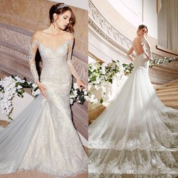 Wholesale Moonlight Silver - 2016 Moonlight Couture Vintage Wedding Dresses Lace Backless Chapel Train plus size dresses Long Sleeve Tulle Mermaid Wedding Dresses