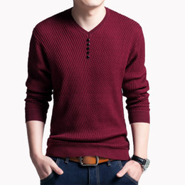 Wholesale Rivet Clothes - Brand New Men's Clothes Pullover Men V Neck Knitted Sweater Fashion Autumn Men's Pure Color Long Sleeve T-shirt Solid Color