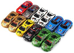 Wholesale Mini Battery Rc Car - New 2.4G RC 1:67 Mini Poker Racing Car 4CH LED Light Rechargable Remote Radio Control Vehicle 8-Colors GreatWall DHL