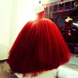 Wholesale High Quality Quinceanera Dresses - Red Quinceanera Dresses Sweetheart Strapless Ball Gown Tulle Beaded Upper Part High Quality Formal Dress For School Luxury Pageant Dress