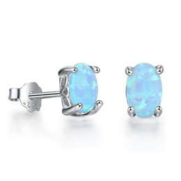 Wholesale Turquoise Diamond Stud Earrings - Turquoise Blue Fire Opal Stud Earrings Fashion 925 Sterling Silver Opal Jewelry Womens Simulated Diamond Earrings