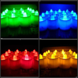 Wholesale Tea Light Candles Colors - 120pcs 3.5*4.5cm Battery operated Flicker Flameless LED Tealight Tea Candles Light Wedding Birthday Party Christmas Decoration 7 colors to c