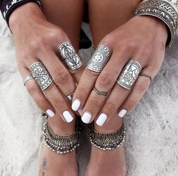 Wholesale Wholesale Ethnic Miao Silver - Silver Plated Ring For Women Men Fashion Bohemian Ethnic Vintage Unique Carving Tibetan Totem Trendy Beach Jewelry Silver Rings