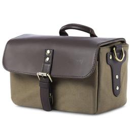 Wholesale Dslr Leather - DSLR Water-resistant Camera Bag Canvas and Leather Shoulder Messenger Bag Shockproof Camera Handbag