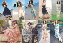 Wholesale Maxi Black Stripe Dress - Maxi dresses Women Summer Style Floral Print Beach Dress Stripe Sleeveless Maxi Dresses Sexy Elegant bohemian dress Plus Size Vestidos