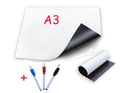 Wholesale Magnetic Board Fridge - Wholesale-A3 Magnetic Whiteboard Fridge with 3 Pens Vinyl White Board Dry-erased Memo Pad Message Boards Magnets Sticker