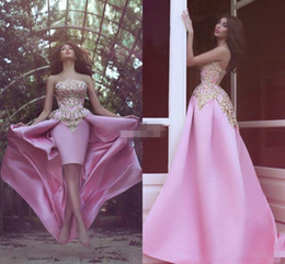 Wholesale Satin Short Pink Robes Cheap - Elegant Pink Strapless Satin High Low Prom Dresses Sleeveless Ball 2018 A-Line Cheap Short Party Evening Dresses Gowns Robe De Soiree