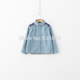 Wholesale Denim Shirts For Girls - Wholesale-Retail Baby Girl Denim Shirts Casual Shirt for Girls 2015 new arrival long sleeve Patchwork Hot Sale Brand 2-8T Free Shipping