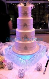 """Wholesale 16 Tall - wedding centerpiece including the LED ,Table Centerpiece wedding glass crystal cake stand 16"""" diameter 8""""tall 40cmx20cm tall"""