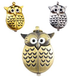 Wholesale Cute Pocket Watch Necklace - 3 Colors Owl Pocket Watch Cute Owl Pendant Necklaces Fob Watches Quartz Watches Fashion jewelry for Women Drop Shipping