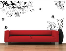 Wholesale Tree Vines Flowers Wall Decals - large black trees vine tv sofa background wall stickers living room decoration 028 office diy flowers home decals mural art 3.5