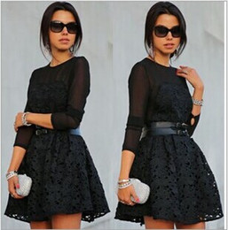 Wholesale Ball Dresses Aline - lace embroidery flower sweet dress women fleabane Aline mini ball gown s-xl HIGHT QUALITY NEW FASHION free shipping