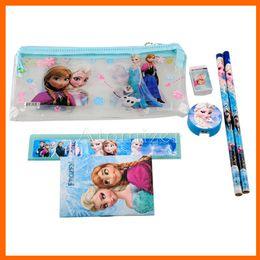 Wholesale School Office Pencils - Frozen stationery set for Students Office & School Supplies Frozen Cases Bag 1 book+2 pencils+1 Ruler+1 eraser+1 sharpener +1 bag(1708001)