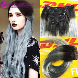 Wholesale Silver Clip Hair Extensions - Black to Granny Silver Two Color Ombre Clip In Human Hair Extensions 12''-30'' Ombre Clip In Human Hair Extensions Strai