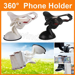 Wholesale Pda Clip - Universal Dual clip Windshield 360 Degree Rotating Car Mount Bracket Holder Stand Suction Cup For iPhone Cellphone GPS PDA Samsung DHL 30pcs