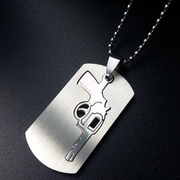 Wholesale Army Pendants - Novelty Pistol Design Pendant Necklace Fashion Shinny Silver Color Army Dog Tags Men Choker Necklace Jewelry Gift