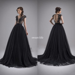 Wholesale Gold Bare - Sexy Bare Black 2017 A Line Prom Dresses Scoop Illusion Lace Appliqued sleeveless Covered Button Empire Tulle Tiered Skirts Pageant Gowns
