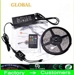 Wholesale rgb led sensor - Newest Music LED Strip Light 5M 5050 SMD RGB Strips 12V Music Sound Sensor LED Strip Light Waterproof IR Controller 20 keyds Include Adapter