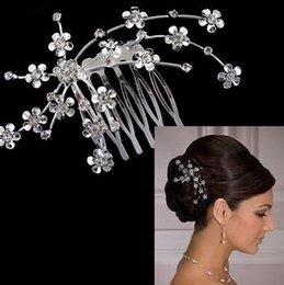 Wholesale Cheap Bridal Headwear - Free Shipping Cheap Alloy Bridal Comb Bridal Headpieces Crystal Wedding Bridal Comb Headwear Small Flower Wedding Prom Party Hair Accessory