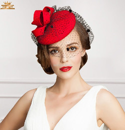 Wholesale Beautiful Lovely Women - Beautiful Flower Bridal Hats Red Color Party Cocktail Women Fascinator Party Wedding Net Veil Bridal Lovely Wedding Hat