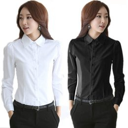 Wholesale Black Work Shirt - Women's Formal Chiffon Blouses White Button Down Work Shirts Long Sleeve Business Tops Turn Down Collar Ladies Office Clothes
