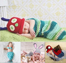 Wholesale Kids Wholesale Crochet Animal Beanies - Cute Cosplay Crochet Baby Infant Handmade Knitted Beanie Costume Sets Photography Props Beanie Newborn Kids EJY