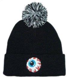 Wholesale Mishka Men Beanie - Wholesale-Free Shipping 1 piece 100% cotton Men women Mishka Cuffed Knit Beanie With Pom in black,hip hop beanie,winter beanie hat