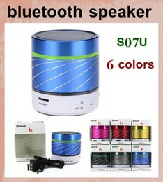 Wholesale active audio - mini bluetooth speaker computer speaker active audio speaker with speakers cable for iphone 6 samsung ipad colorful car S07U MIS010