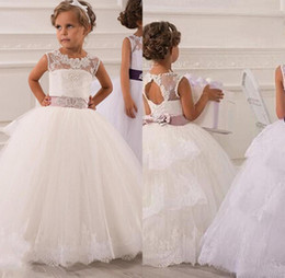 Wholesale Illusion Neckline Communion - 2015 New Flower Girls' Dresses Little Girl Formal Gown With Sheer Neckline A-Line Lace Jewel Bow Appliques Sequins Sash Tulle Cheap