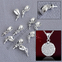 Wholesale Wholesale Pendant Connectors - Wholesale- Fast Ship 100PCS Solid 925 Sterling Silver Jewelry Findings Cup Cap Bail Connector For Pendant Handmade Beading Jewelry