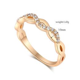 Wholesale Korean Selling Model - Korean fashion diamond geometric waves selling models female minimalist plated 18K YLI1700 Engagement Ring for Christmasring for Christmas